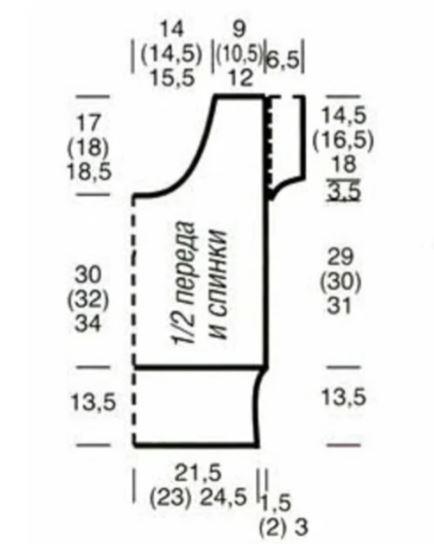 Начинать с 1 кром. и с петель перед раппортом, повторять петли раппорта, заканчивать петлями после раппорта и 1 кром. Внимание! Внутри вертикального раппорта изменяется число петель. Плотность вязания и число петель, указанное в инструкции, всегда относится к первоначальному числу петель. Повторять с 1-го по 12-й р.  Плотность вязания:  Резинка (спицы №4,5): 18 п. х 24 р. = 10 х 10 см;  Основной узор (спицы № 5): 17 п. х 22,5 р. = 10 х 10 см.   Выкройка: