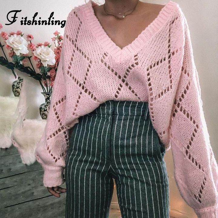 пуловер с V-образным узором 2020