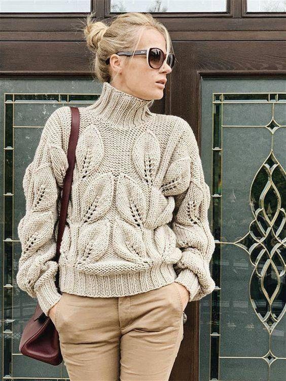 свитер с листья спицами схема