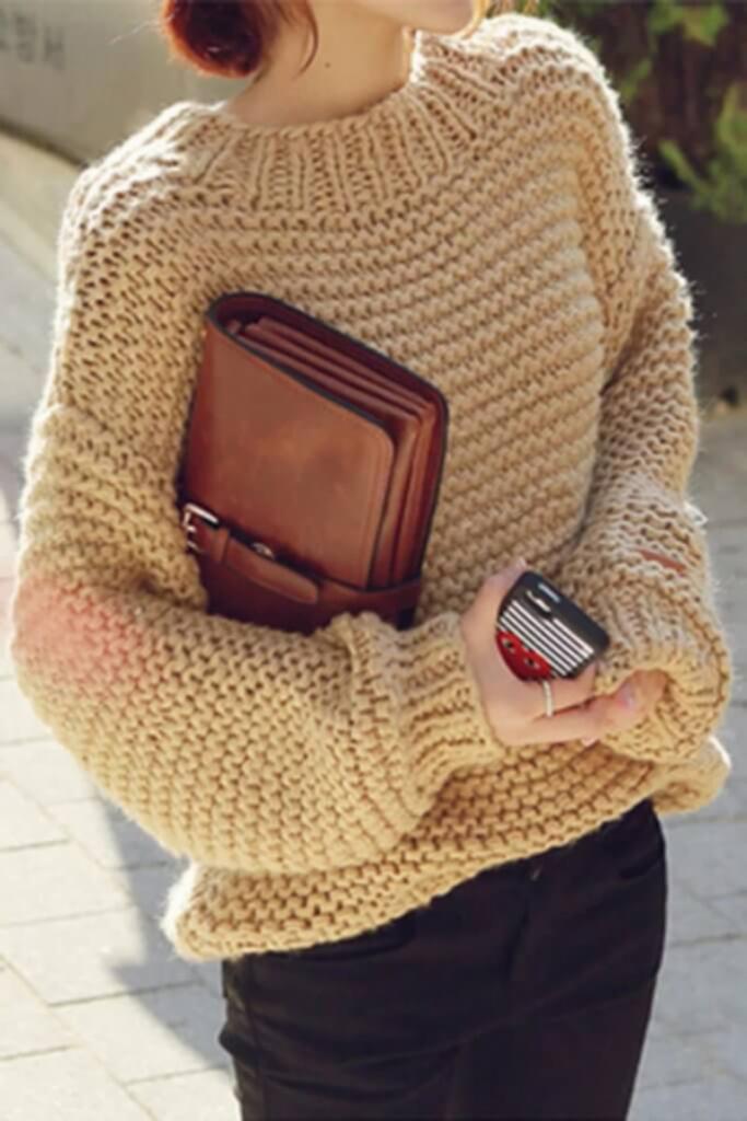 свитер крупной вязкой